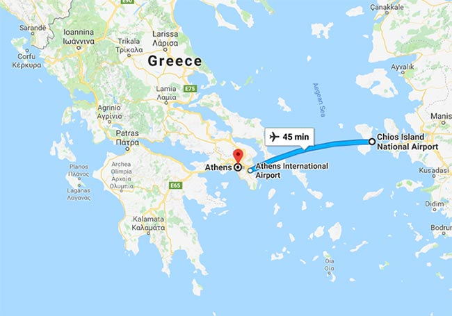 Athens to Chios by plane